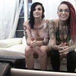Image Videochat cu o bruneta draguta si o roscata tatuata la web