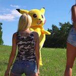 Image Deghizat in Pikachu face sex in padure cu doua fete inocente