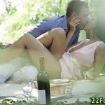 Image Bruneta draguta suge pula la picnic