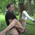 Image Scolarita slim sex in parc cu barbat matur
