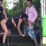 Image Bruneta face sex in statia de autobuz cu doi barbati